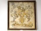 Large embroidery silk bouquet wedding flowers blackened frame vase 1812 XIX