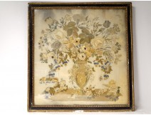 Large embroidery silk bouquet wedding flowers blackened frame vase 1812 XIX
