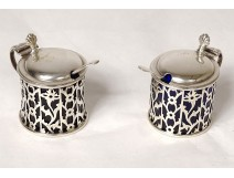 Pair of English silver mustard makers Birmingham Boardman Glossop early 20th century
