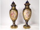 Pair of covered casserole pots Sèvres porcelain Tiélès gallant scene 19th
