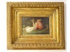 Small HSP painting Lanfant de Metz children bird landscape golden frame 19th