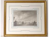 Gouache view Paris Place Concorde Obelisk Palais Bourbon 1848 XIXth