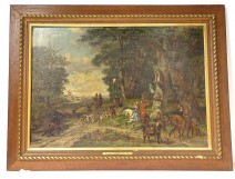 Large HST painting M. Kuytenbrouwer scene hunting with hounds forest 1888 XIX