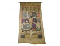 Fabric painting 11 Chinese ancestors Mandarin dignitaries China XIXth century