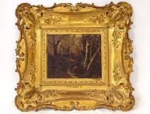 HSP painting Diaz de la Pena landscape Barbizon School stuccoed frame XIXth century