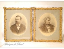Pair of wooden frames gilded stucco Napoleon III 19th