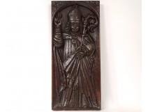 Decorative panel Haute Epoque carved wood bishop butt miter XVII
