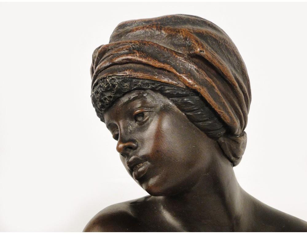 Black Slave Woman Statue Sculpture By 19th Goldscheider