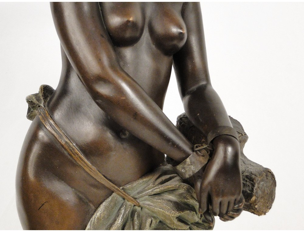 Black Slave Woman statue sculpture by 19th Goldscheider
