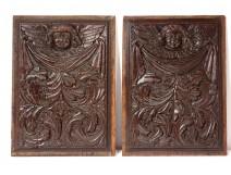 Pair of Haute Epoque carved wood panels head of acanthus cherubs 17th century
