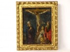 Small painting HSC crucifixion Virgin Mary Magdalene Jesus punches XVIIIth