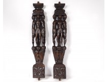 Pair of Haute Epoque sculptures in carved wood with native woodwork from the 17th century