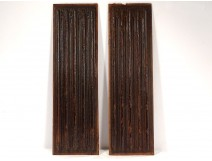 Pair of Haute Epoque panels carved wood folds towel 17th century woodwork