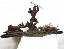 Large polychrome wood sculpture Saint-Hubert hunting signed Paul Guibé XIXth