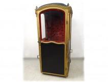 Louis XV sedan chair blackened gilded wood velvet Genoa XVIIIth century