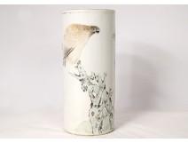 Chinese porcelain roll vase bird dog tree poem Guangxu nineteenth