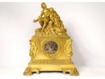 Gilded bronze pendulum characters man child Napoleon III clock XIXth