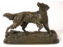 Bronze sculpture Jules Moigniez dog hunting stop spaniel XIXth century
