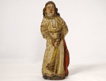18th century polychrome carved wood statuette