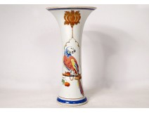 Cornet porcelain vase Compagnie des Indes parrot Cornelis Pronk XVIIIth