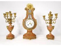 Pendulum trim candelabra 4 lights bronze pink marble Napoleon III nineteenth