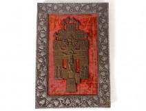 Byzantine cross russian orthodox crucifix copper Christ angels eighteenth century