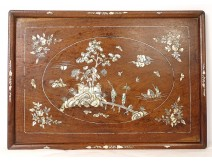 Mother of pearl wood tray maqueterie landscape temple characters flower Vietnam XIXth