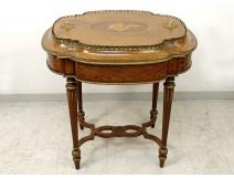Table planter marquetry musical instruments bronze Napoleon III nineteenth