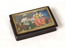 Tortoiseshell box ivory miniature horn gallant scene soldier women nineteenth century