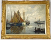Great HST seascape fishing boats H. Barnoin Brittany Concarneau XXth
