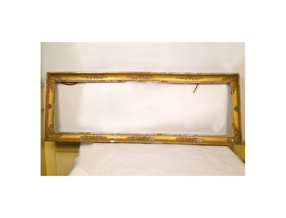 Large wooden frame stuccoed 19th golden empire palmettes first for Large a frame