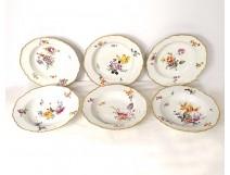 6 hollow Meissen porcelain plates, 18th century taste, 19th century gilding