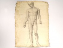 Naked man academy study pencil drawing signed Romieu XIXth century