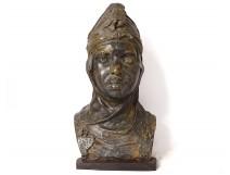Orientalist bust sculpture P. Loiseau-Rousseau young Berber plaster nineteenth