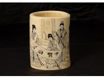Bitong China ivory brush pot women landscape signed nineteenth poem