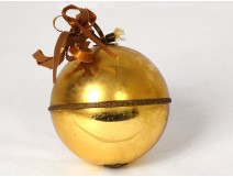 Decorative musical ball in gilded eglomised glass late 19th century