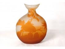 Glass paste gourd vase Emile Gallé flowers bindweed Art Nouveau XIXth