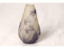 Small pear-shaped glass paste vase Emile Gallé flowers lilies Art Nouveau XIXth