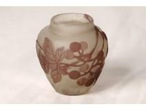 Small vase glass paste Emile Gallé vine vine grape art Nouveau nineteenth
