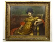 Large HST painting portrait woman Empire G. Meyer golden frame 138x121cm nineteenth