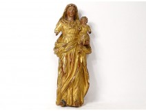 Virgin and Child Jesus carved gilded polychrome statue 18th century