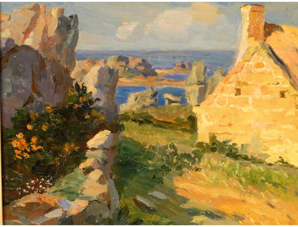 Hsp Painting Mary Piriou Bazin 20th Marine Landscape Britain