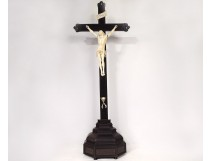 Large ivory Christ Dieppe crucifix ebony cross skull Memento Mori 17th century