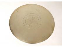 Paten of chalice silver vermeillé IHS Minerva goldsmith Favier 117gr XIXth
