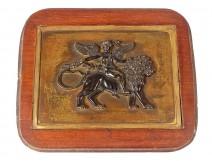 Bas-relief sculpture bronze plate Cupid lion quiver XIXth century