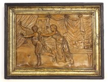 Half round carved panel character fleeing antique woman late eighteenth