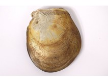 Whole shell carved mother-of-pearl landscape palm trees Tahiti Polynesia XIXth