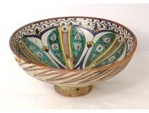 Polychrome ceramic Mokhfia cut dish Tortoise Tronja Morocco Fez XIXth