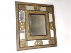 Louis XIV mirror with parecloses copper embossed blackened wood late 17th 18th century