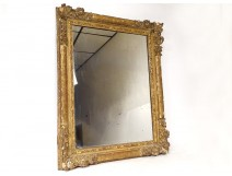 Mirror Louis XIV Régence carved gilded wood flowers shell ice eighteenth